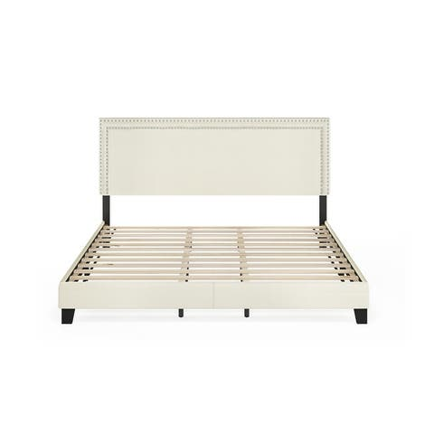 Furinno Laval Double Row Nailhead Bed Frame