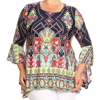 Women Plus Size Paisley Tapestry Bell Sleeve Tunic Knit Top Tee Shirt Navy