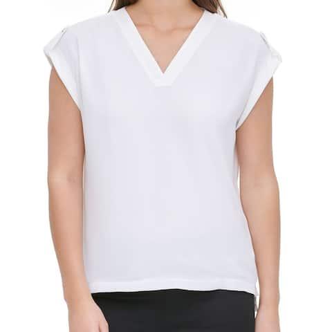 Calvin Klein Womens Blouse White Size Medium M C-Neck Mixed-Media
