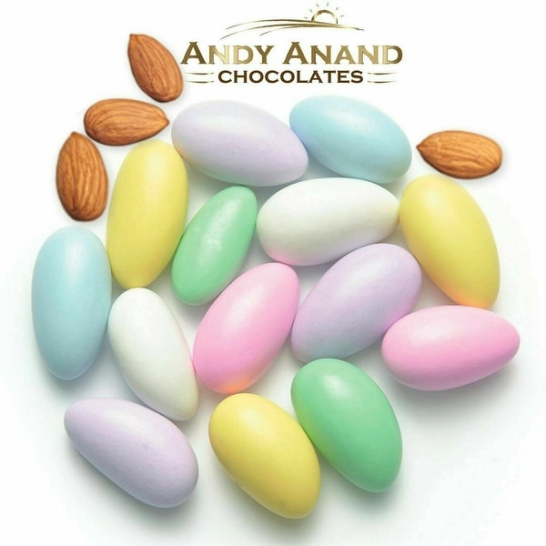 Andy Anand Sugar Free Pastel Jordan Almonds Gift Boxed & Greeting Card 1 lbs. Opens flyout.