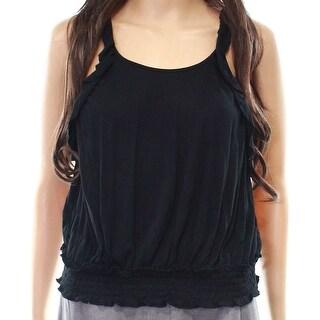 Wild Pearl Black Women's Size XXS Ruffled Shirred-Hem Halter Top