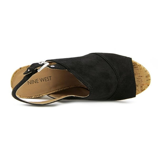 Nine West Womens milyonarol1 Suede Open Toe Casual Slingback, Black, Size 5.0