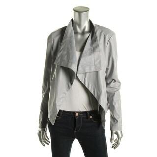 BB Dakota Womens Faux Leather Faux Pockets Open-Front Blazer