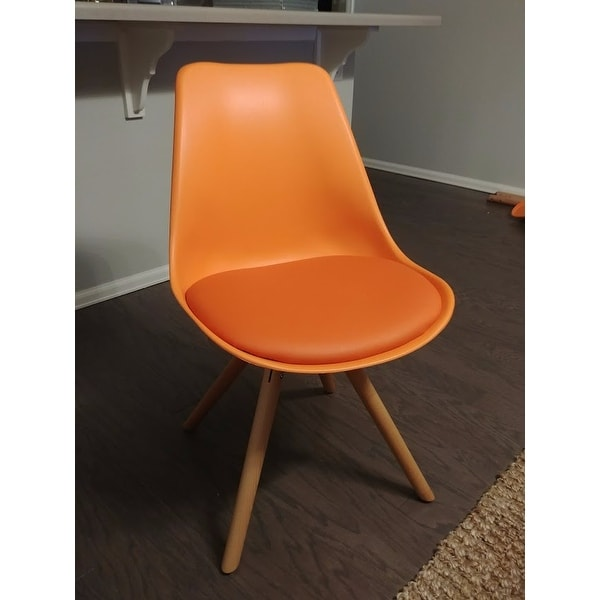 Attractive Viborg Orange Mid Century Side Chair Natural Base (Set Of 2)   Free  Shipping Today   Overstock.com   18715570