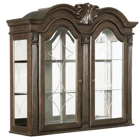 Wooden and Glass Hutch with Arch Shape Doors and 2 Shelves, Brown