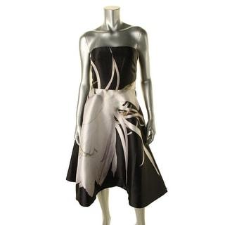 Monique Lhuillier Womens Floral Print Strapless Cocktail Dress - 4