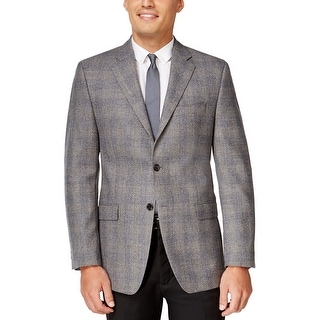 Ralph Lauren Light Grey Plaid Wool Two Button Sportcoat Blazer 40 Long 40L
