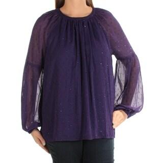 MICHAEL KORS $110 Womens New 1305 Purple Jewel Neck Long Sleeve Casual Top L B+B