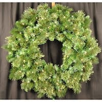Christmas at Winterland WL-GWBM-04-LWW 4 Foot Pre-Lit Warm White LED Blended Pine Wreath Indoor / Outdoor - Warm White - N/A