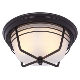 Westinghouse 6230300 Bonneville 2 Light Flush Mount Ceiling Fixture with Frosted Glass Shade