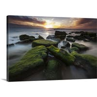 Premium Thick-Wrap Canvas entitled Final Light - Dog Beach - Multi-color