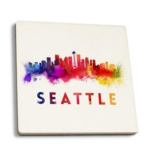 Seattle, Washington - Skyline Abstract - Lantern Press Artwork (Set of 4 Ceramic Coasters - Cork-backed, Absorbent)