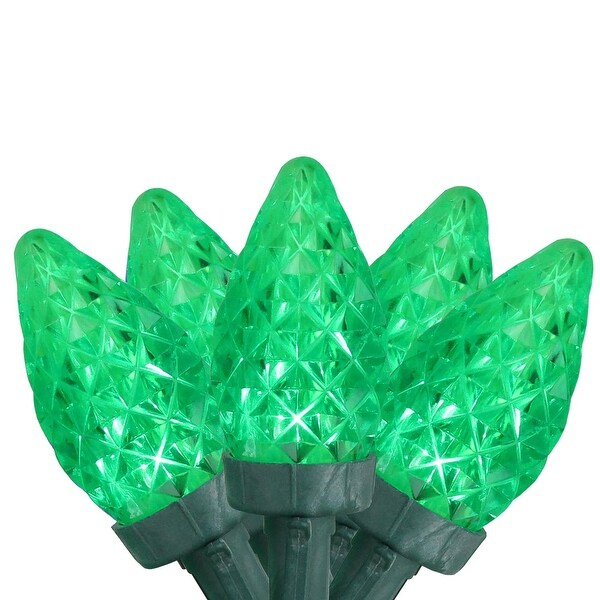 Set of 100 Faceted Transparent Green LED C7 Christmas Lights - Green Wire