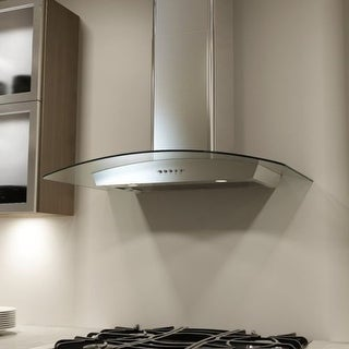 Miseno MH00330G 750 CFM 30 Inch Stainless Steel Wall Mounted Range Hood with Dual Halogen Lighting System and Glass Accent