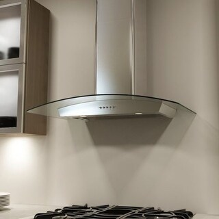 Miseno MH00336G 750 CFM 36 Inch Stainless Steel Wall Mounted Range Hood with Dual Halogen Lighting System and Glass Accent