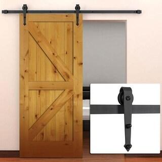 Belleze 6FT Modern American Antique Style Barn Wood Steel Sliding Door Hardware Only, (Frosted Black)