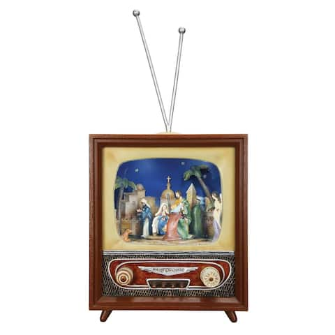 """Set of 2 Brown and Beige Christmas Nativity TV 14.75"""""""