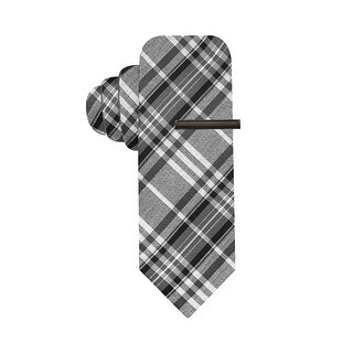 Alfani Hand Made Reversible Sea Plaid Skinny Neck Tie With Clip Grey