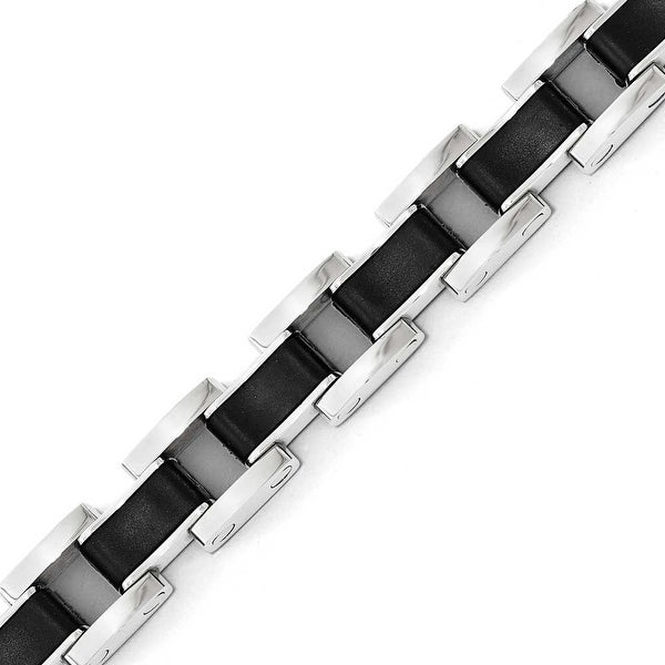 Chisel Stainless Steel Polished Black Rubber Bracelet
