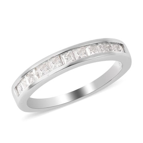 925 Sterling Silver Moissanite Band Anniversary Ring Size 6 Ct 0.6