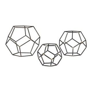 Sterling Industries 138-165/S3 Geometric Orbs - Set of Three - grey iron