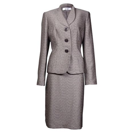 Le Suit Women's Monte Carlo Faux Bois Textured Skirt Suit