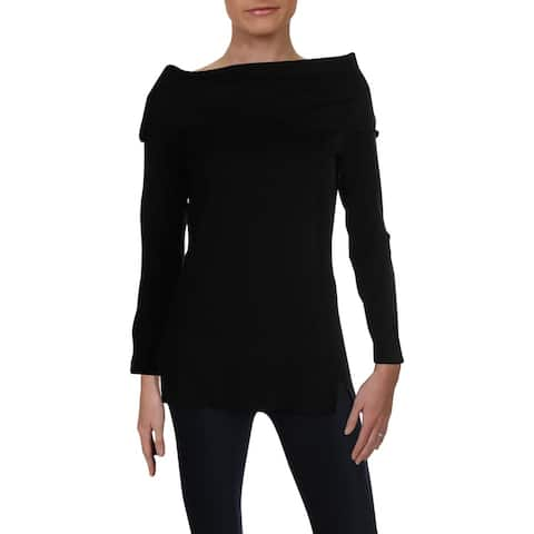 525 America Womens Sweater Wide Neck Stretch - Black - S
