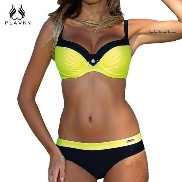 Traición Domar Manuscrito  PLAVKY 2018 Retro hot Patchwork Biquini Swim Beach Wear Bathing Suit Swimsuit  Swimwear Women Brazilian Super Push Up Bikini Set - Overstock - 27522240