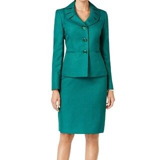 Le Suit NEW Emerald Green Jacquard Women's Size 12 Skirt Suit Set