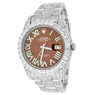 Datejust 2 Stainless Steel Rolex Watch Real Diamond Dial Full Iced Out 24.5 Carat