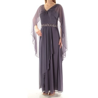 Womens Purple Kimono Sleeve Maxi Sheath Evening Dress Size: 18