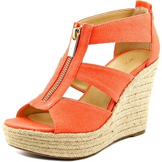 Michael Michael Kors Damita Wedge Women Open Toe Canvas Orange Wedge Sandal