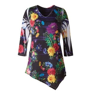 Women's Tunic Top - Whimsical Wildflowers Bright Floral Print