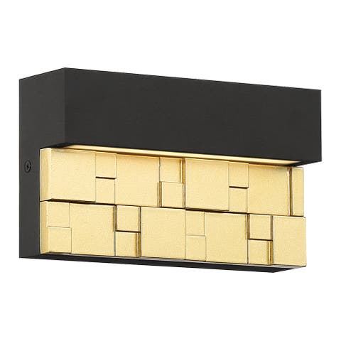 Grid 1-light Bronze with Gold Marine Grade LED Outdoor Wall Sconce