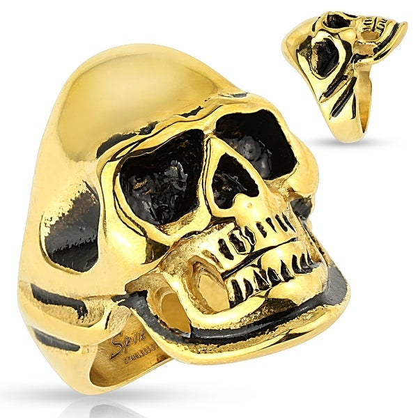 Gold and Black Skull Stainless Steel Ring (Sold Ind.)