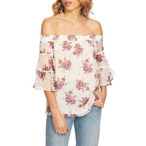 1.STATE Womens Beige Size Large L Floral Print Off-Shoulder Blouse