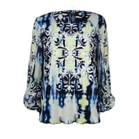 Alfani Women's Ikat Printed Chiffon Sleeve Blouson Blouse - Sea