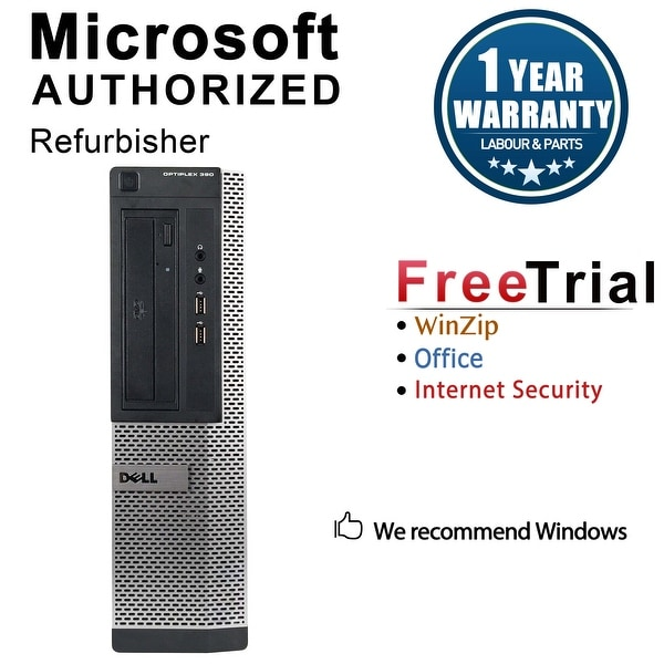 Dell OptiPlex 390 Desktop Computer Intel Core I3 2100 3.1G 4GB DDR3 1TB Windows 10 Pro 1 Year Warranty (Refurbished) - Black