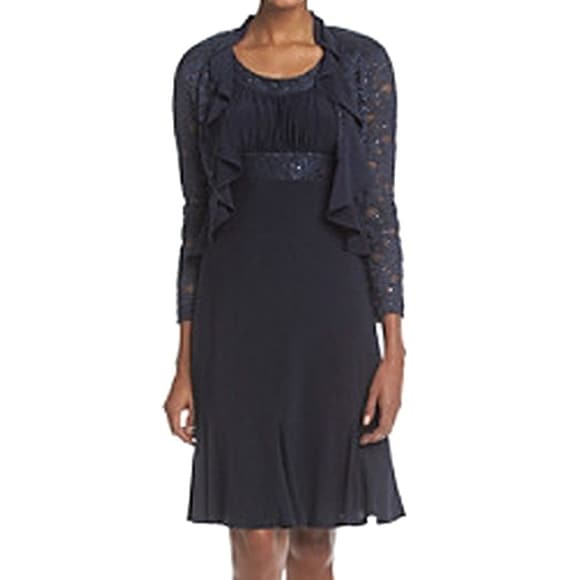 1586160549b Shop R M Richards NEW Blue Navy Lace Sequin 10 Ruffled Jacket Dress Set -  Free Shipping On Orders Over  45 - Overstock - 18736661