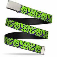 Blank Chrome Buckle Question Mark Scattered Lime Green Purple Webbing Web Belt