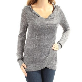 INC $69 Womens New 1872 Silver Metallic Cowl Neck Long Sleeve Casual Top XS B+B