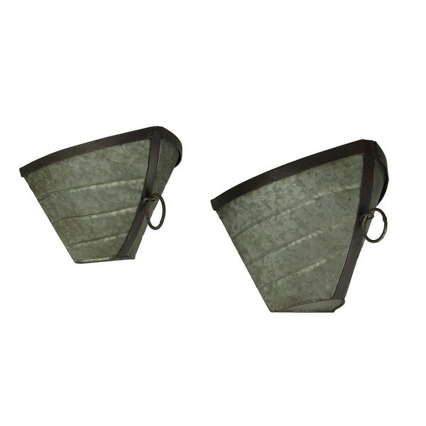 Galvanized Metal Art Boat Bow Planter Wall Sculptures Set of 2 - 8 X 12.5 X 10 inches