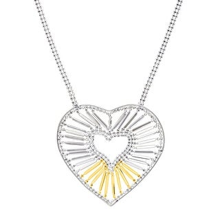 Beaded Heart Necklace in Sterling Silver & 10K Gold - Two-tone