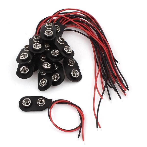 Unique Bargains 14 Pcs Faux Leather Shell Dual Wires 9V Batteries Clip Connectors Battery Holder