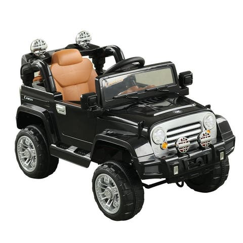 Aosom 12V Kids Electric Battery Ride On Toy Black Off Road Car Truck