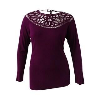 Jessica Simpson Women's Plus Size Crocheted Top (2X, Italian Plum) - italiam plum - 2x