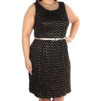 CONNECTED Womens Black Metallic Chevron Sleeveless Scoop Neck Knee Length Fit + Flare Dress  Size: 16