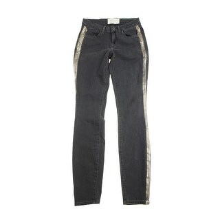 Rachel Rachel Roy Denim Black Tuxedo-Stripe Skinny Jeans