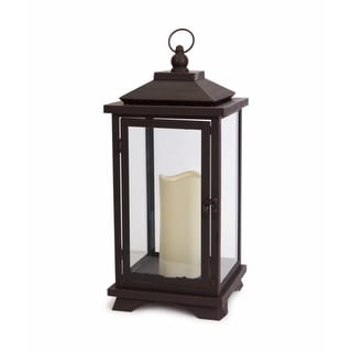 "17.75"" Sleek and Contemporary Espresso Brown Lantern with LED Flameless Pillar Candle"