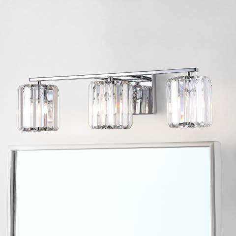 Coco Prism Metal/Glass Glam LED Vanity Light, Chrome by JONATHAN Y